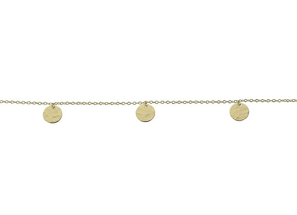 Sterling silver gold plated hammered disk bracelet