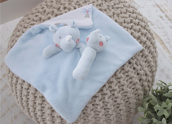 Bubba Blue - Rhino Security Blanket & Rattle Set Gift Boxed
