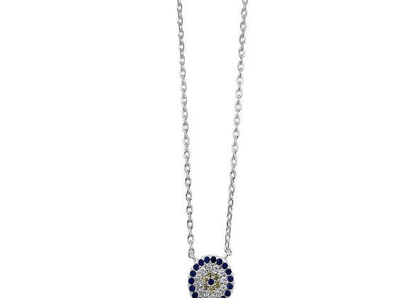 Sterling silver cubic zirconia evil eye necklace