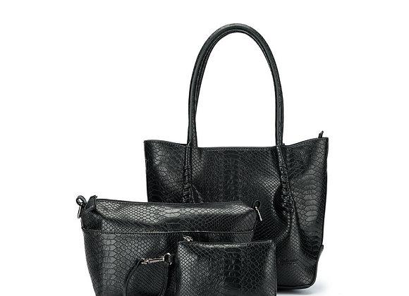 Black Caviar Mini Audrey - Black 3 piece vegan leather tote