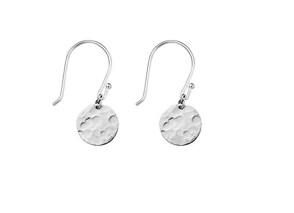 Sterling silver 10mm hammered drop circle earring