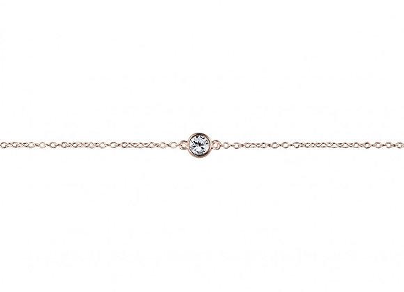 Sterling silver rose gold plated bezel set cubic zirconia bracelet