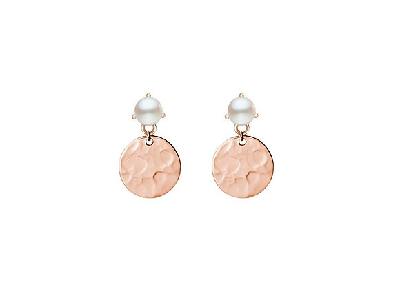 Sterling silver rose gold plated hammered drop disk earring