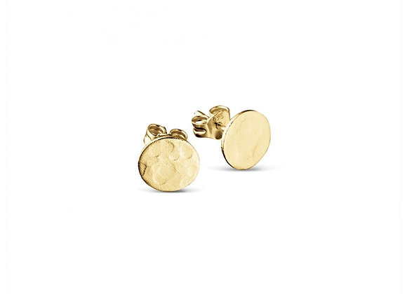 Sterling silver gold plated hammered flat circle stud earring 8mm