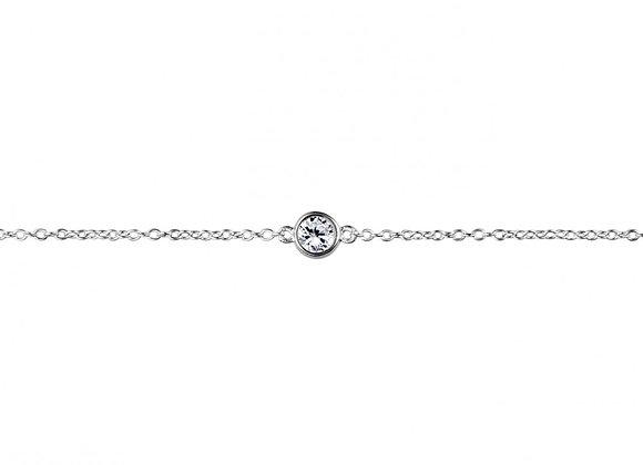 Sterling silver bezel set cubic zirconia bracelet