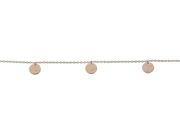 Sterling silver rose gold hammered disk bracelet