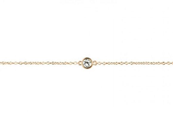 Sterling silver gold plated bezel set cubic zirconia bracelet
