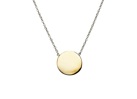 Sterling silver gold plated brushed circle necklace