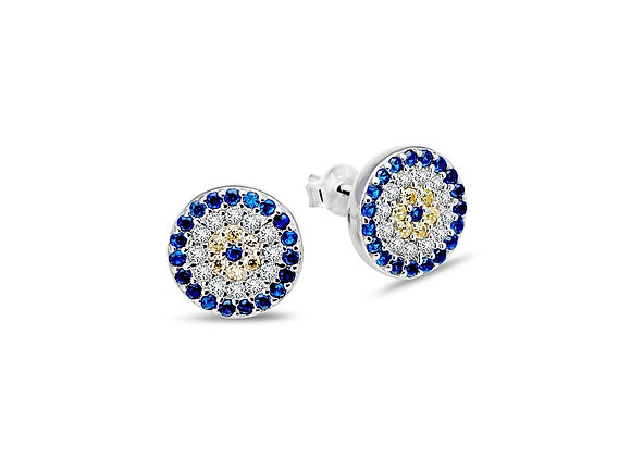 Sterling silver 10mm round evil eye stud earring