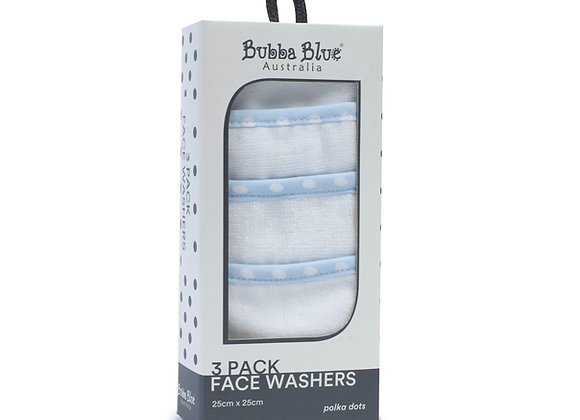Bubba Blue - 3 Pack Face Washers Polka Dot Blue