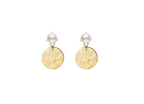 Sterling silver gold plated hammered drop disk earring