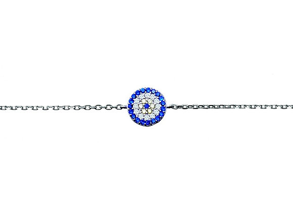 Sterling silver cubic zirconia evil eye bracelet