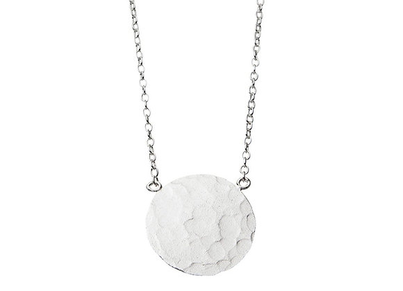 Sterling silver beaten disk necklace
