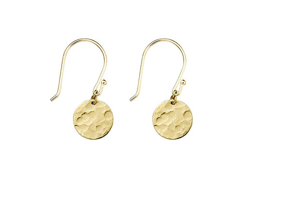 Sterling silver gold plated 10mm hammered drop circle earring