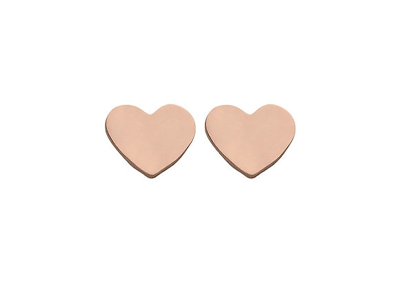Sterling silver rose gold plated 5mm heart stud earring
