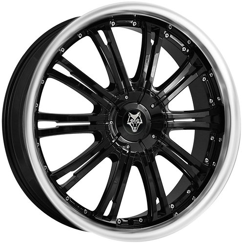 "Wolfrace Vermont Gloss Black Polished Lip 20"" Alloy Wheels"