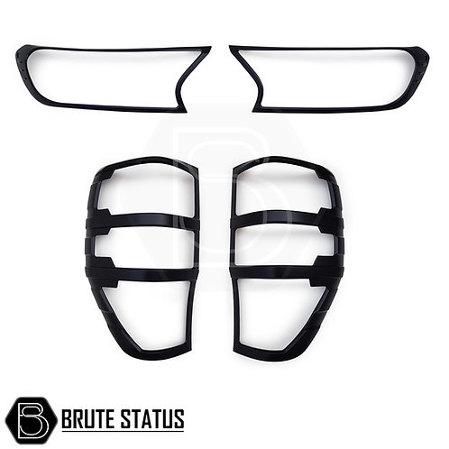 matt black head light and tail light covers for Ford Ranger T7 and T8