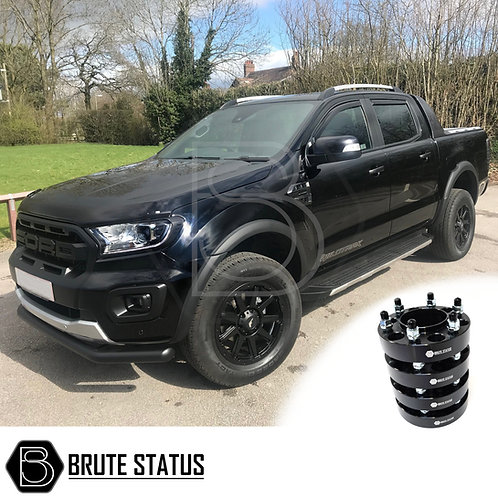 Black Ford Ranger fitted with Brute Status slim style wheel arch kit and 35mm hubcentric spacers