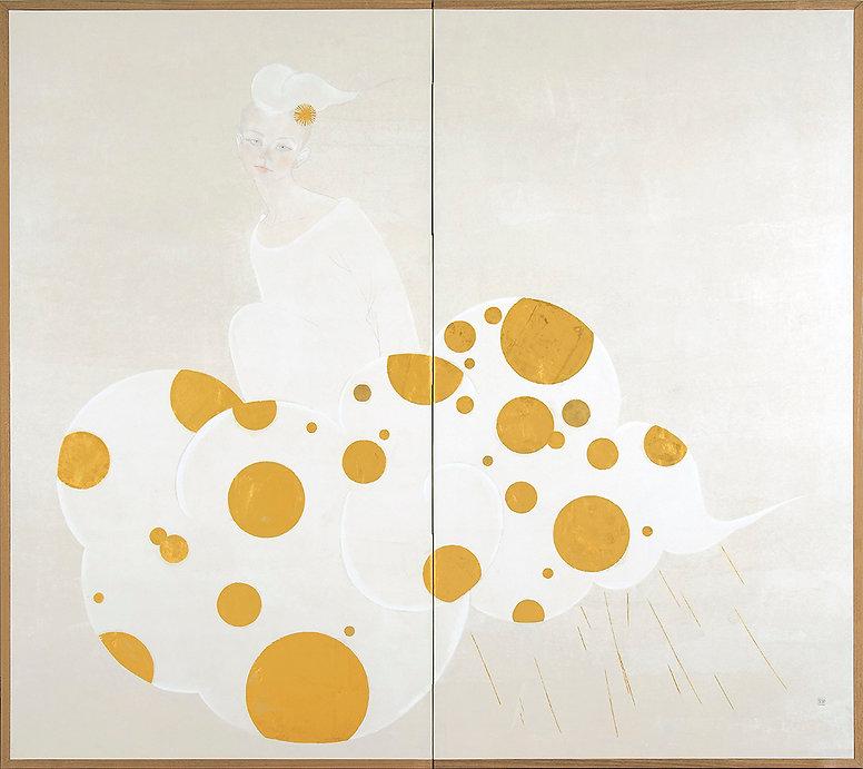 岩﨑絵里「佳雨(かう)」、2014年、h150.7×w168×1.7cm