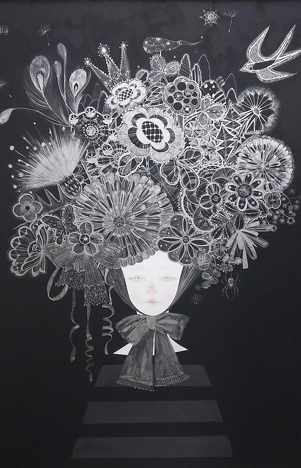 岩﨑絵里「a garden」2017年、h90.9 × w60.6㎝