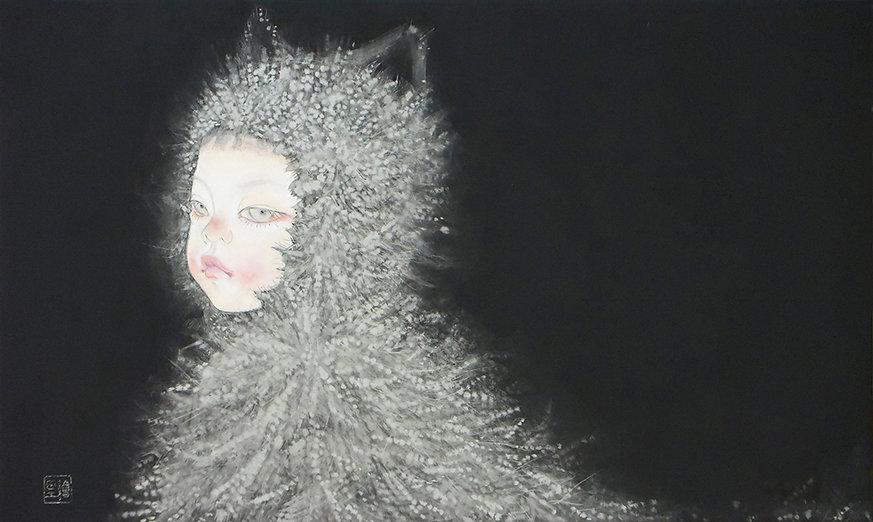 岩﨑絵里「ねこかぶり」 2020年、h27.3 × w45.5㎝