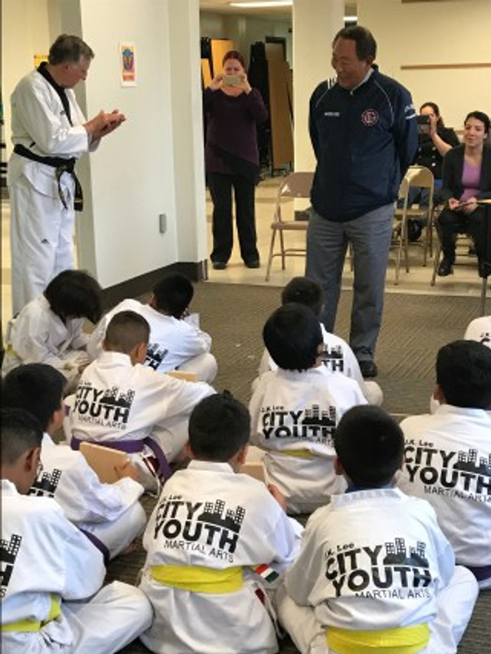Grand Master J.K. Lee with Milwaukee City Youth Martial Arts students.
