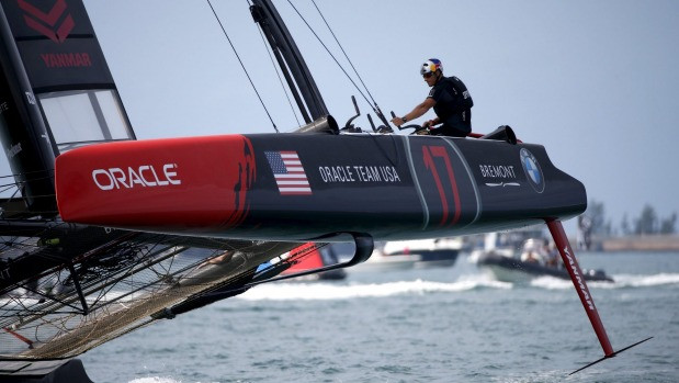 Skipper Jimmy Spithill at the helm of Oracle during the America's Cup world series.
