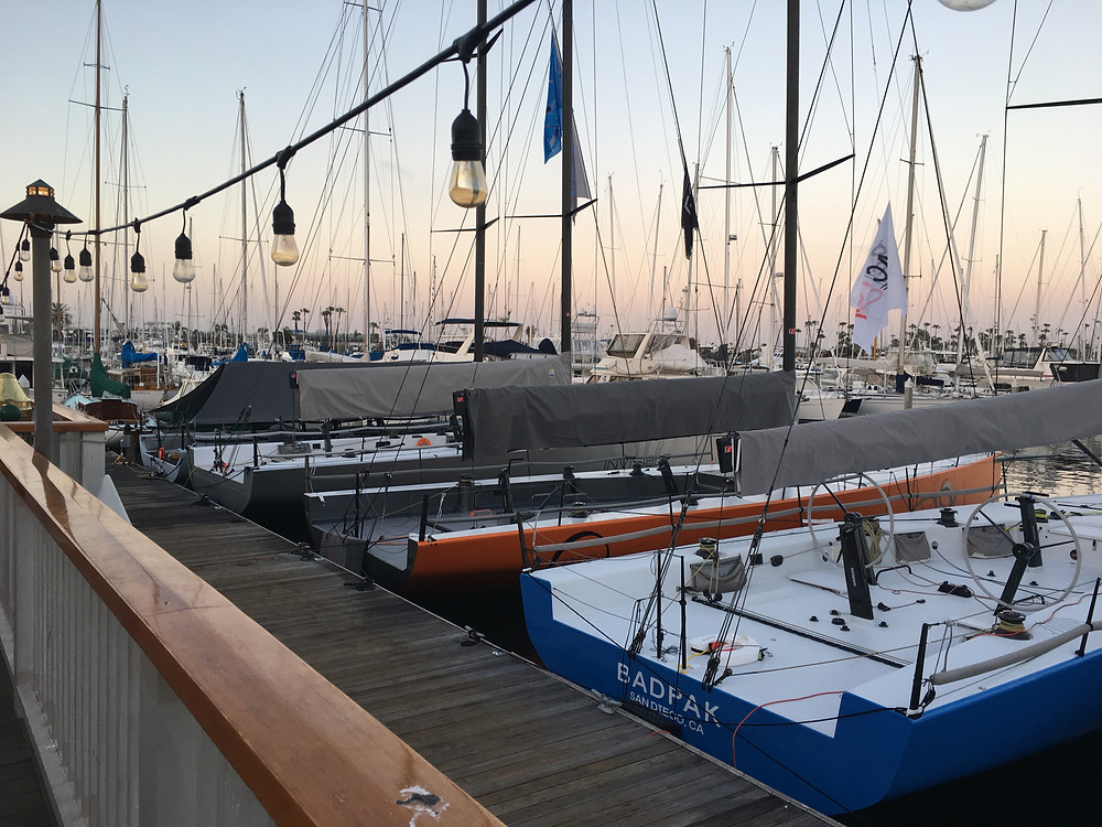 PAC 52's waiting and ready, Med-tied at SDYC's front dock on Thursday evening. The Yachting Cup starts tomorrow and runs through Sunday.
