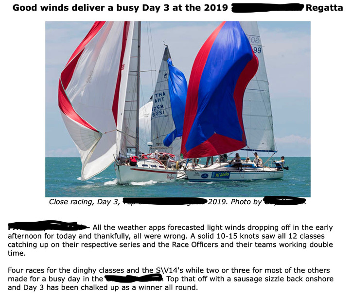 "Weather or not: Yet another croutonic ""Good winds deliver a busy day"" sailing press releas"