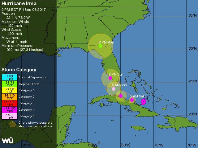 Irma's Incursion: 'Seriously bad news for Florida; now forecast to strengthen to Cat 5 befor