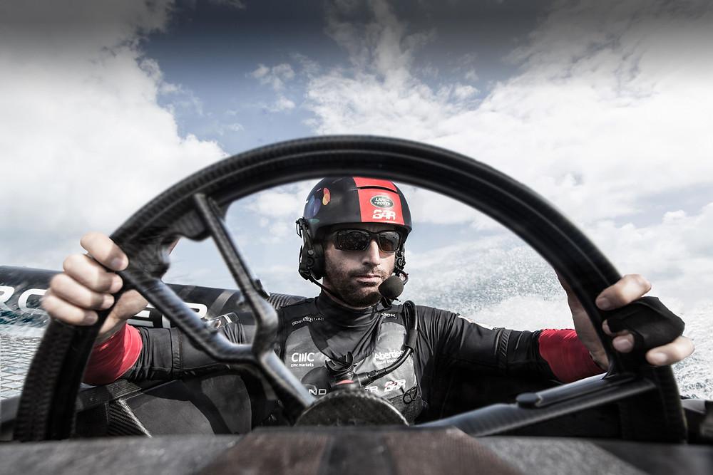 Sir Ben at his F1-inspired wheel. Photo: Land Rover BAR.