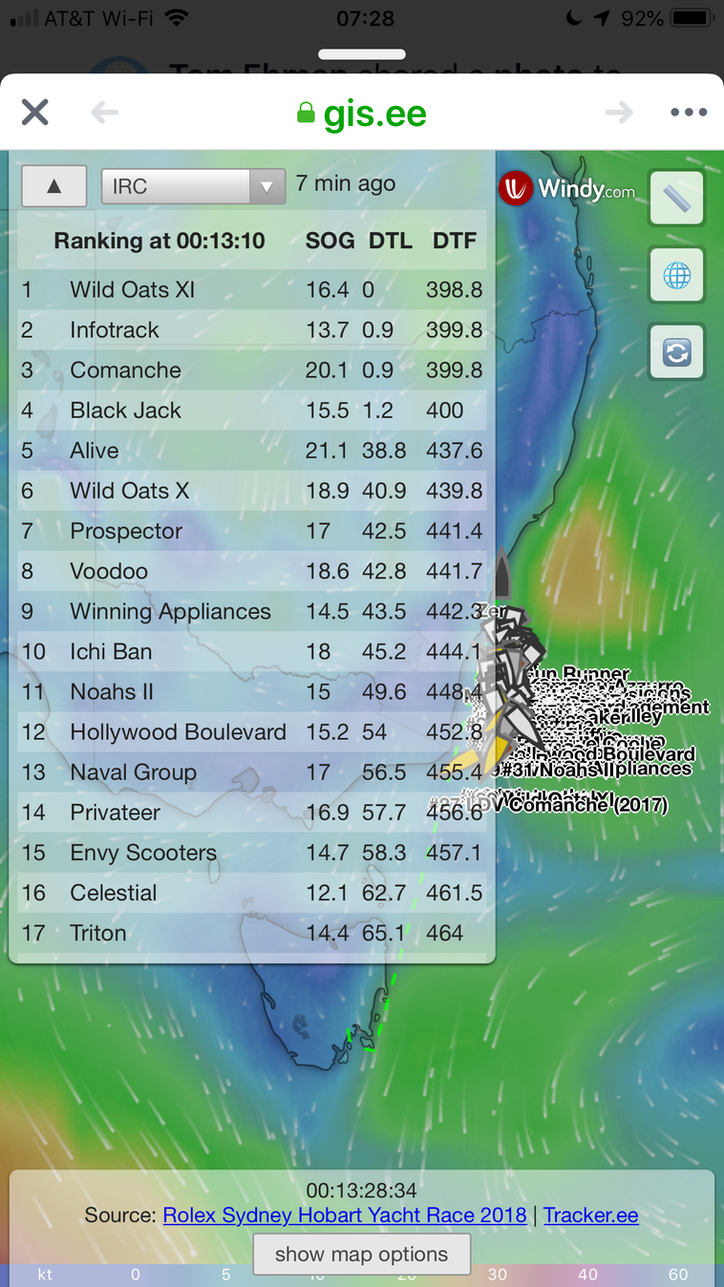 #RSHYR: Top four maxis within 1.2NM; here's the best Sydney Hobartracetracker, courtesy of Windy.c