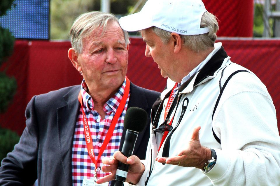 Bob Fisher (GBR, left) being interviewed by TFE during an AC34 event in SF.