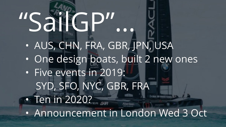 "SailGP: The AP's Bernie Wilson confirms ""Larry's League"" in 2019 with foiling F50"