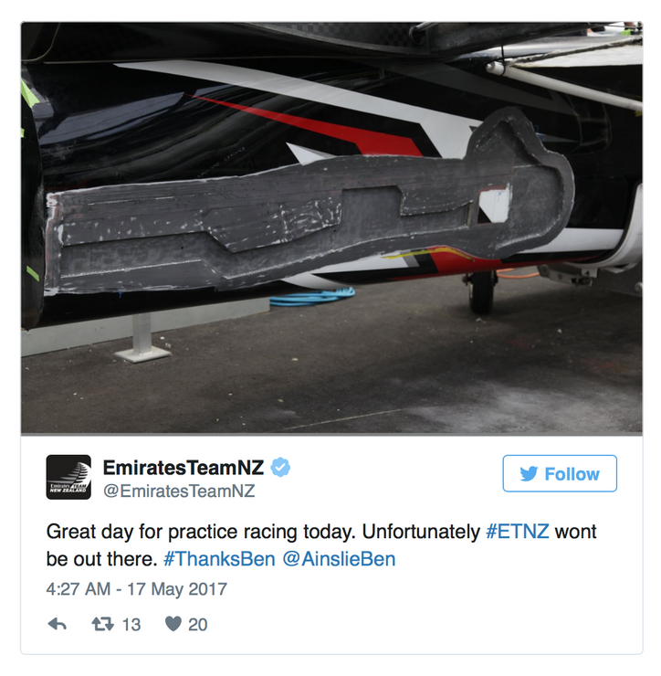 """""""Great day for practice racing today. Unfortunately ETNZ won't be out there."""""""