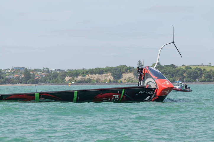 AC36: Photo and video of Emirates Team New Zealand capsizing their AC75 while training today (Thursd