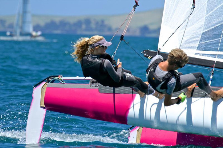 Tornado Worlds: 14-year-old Helena Sanderson (NZL) with her age 17 crew Jack Honey (NZL) making (pin