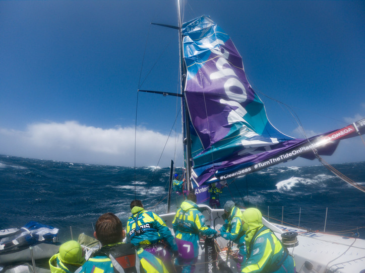 VOR: Video from aboard AkzoNobel before, during and after the gybe that ripped the sail track off th