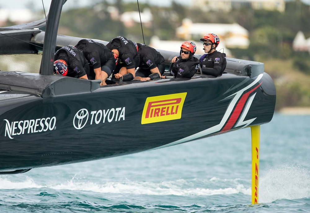 ETNZ photo of the team's AC50, now sporting bright yellow branding for their new sponsor, Pirelli, one of the world's largest tire companies.