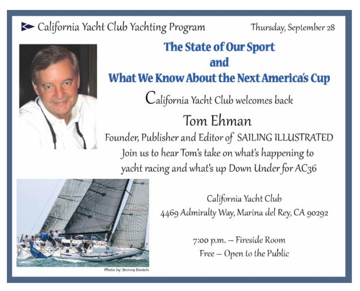 TFE at CYC: AC36 Cupdate and the State of our Sport, tomorrow evening in Marina del Rey