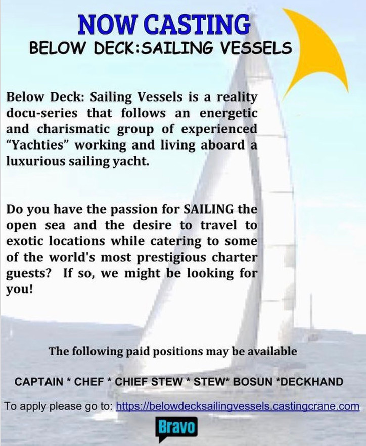 "Casting Call: ""Do you have the passion for sailing the open sea and the desire to travel to exo"