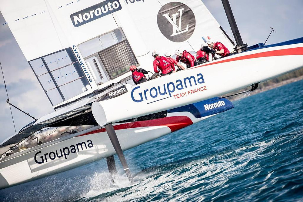 Groupama Team France sailing in Bermuda on April 6th, 2017. Photo by Eloi Stichelbaut