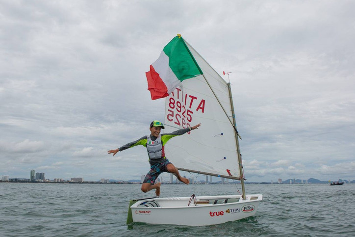 Yutes: Marco Gradoni (ITA), 2017 Optimist World Champion, leading the 2018 Worlds in Cyprus with six