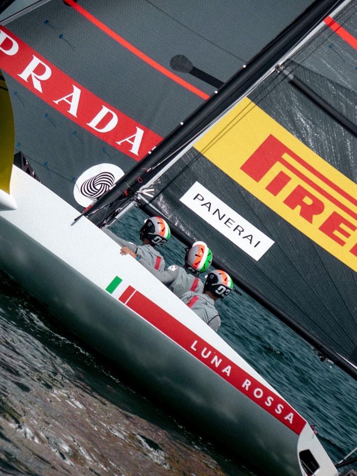 AC36:  Luna Rossa Prada Pirelli releases first test boat foiling fotos; clever cropping