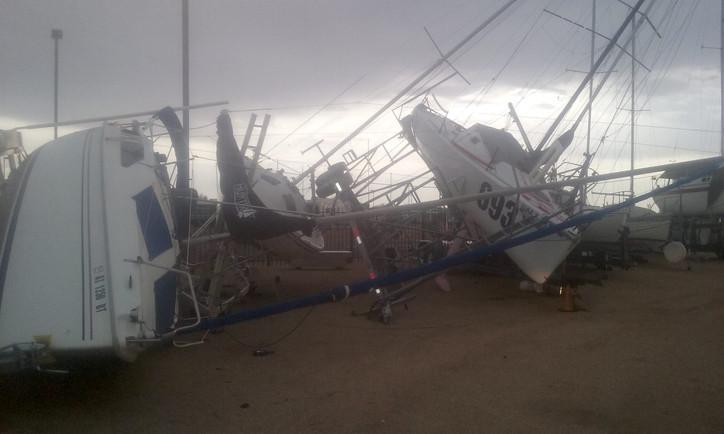 WEATHER OR NOT: Microburst at Arizona YC's Pleasant Harbor Marina badly damages fleet