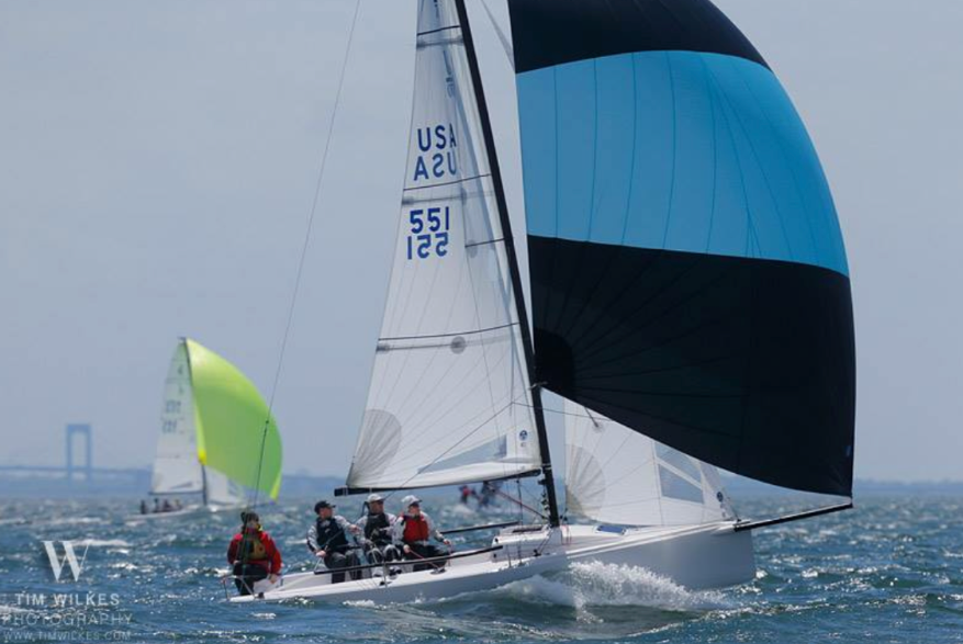ANY COLOUR, Scott and Alex Furnary's J/70 on the to winning their class at the 2017 American YC Spring Series. Photo: Tim Wilkes.