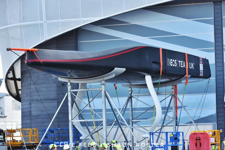 AC36: First photos of INEOS Team UK's AC75 after being moved into the yard at the team base in P