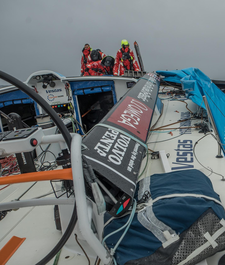 VOR: The first photo from onboard the dismasted Vestas 11th Hour Racing, and an interview with crewm