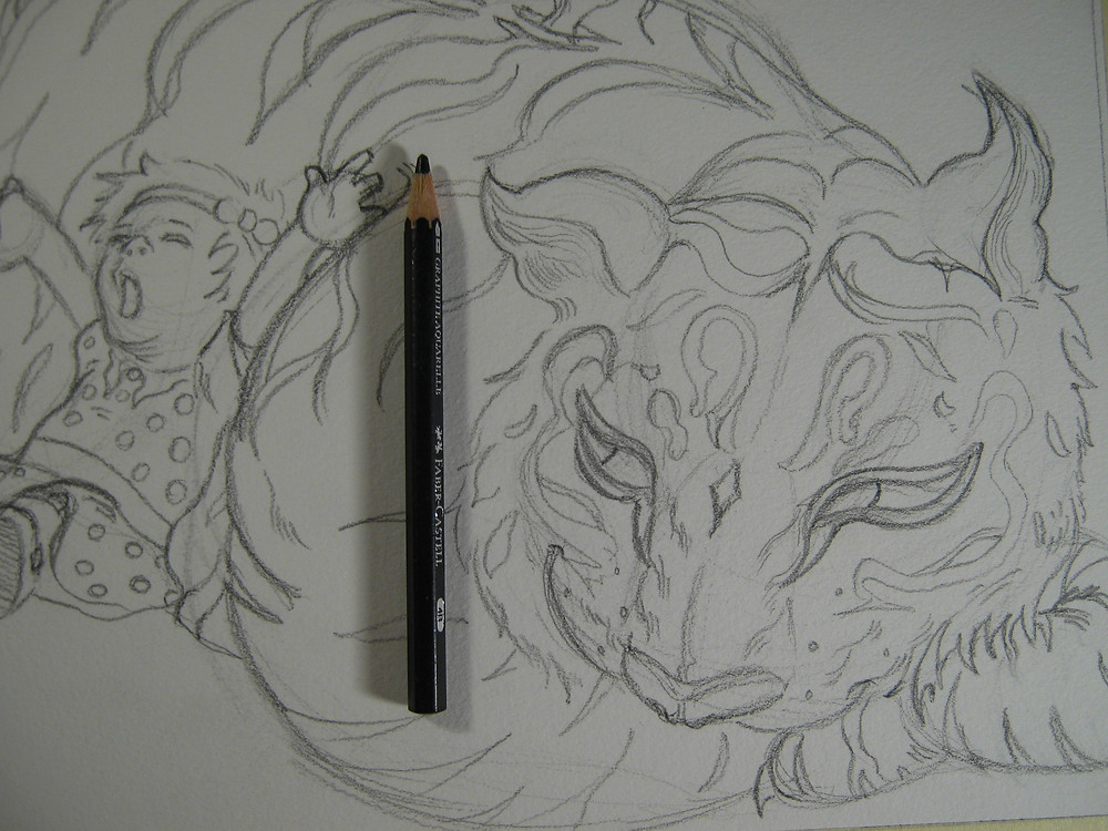 Highly detailed sketch next, pencil to compare size.