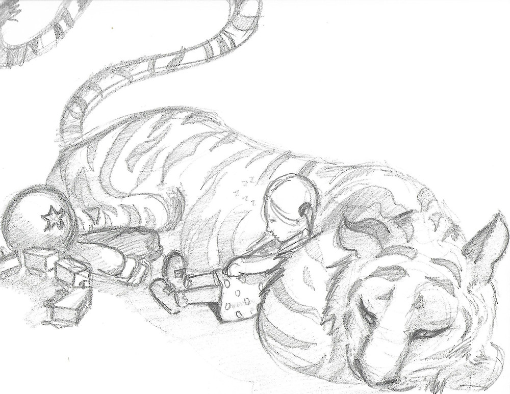 Then I'll give a bunch of sketches then we'll agree on one , which for her was this one.